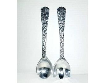 Vintage Serving Fork and Spoon,Metal Servingware,Mexico,Serving Spoon,Serving Fork,LARGE Servingware,Metalware,Embossed Fork and Spoon,Salad