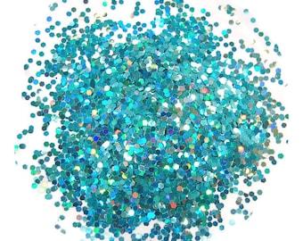 Teal Glitter, Holographic Glitter, SOLVENT RESISTANT, 0.062 Hex, Glitter, Nail Glitter, Nail Polish Glitter, Slime Glitter, Teal Nails