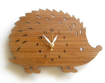 Hedgehog Wall Clock with numbers, made in wood, unique gifting