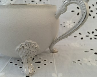 White Chalk Painted Silver Creamer and Sugar Bowl with Lid
