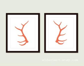 Elk Antlers Art Prints - Modern Deer Anlters Wall Art - Woodland Rustic Modern Home Decor - Set of 2 Prints - Coral Orange - Aldari Art