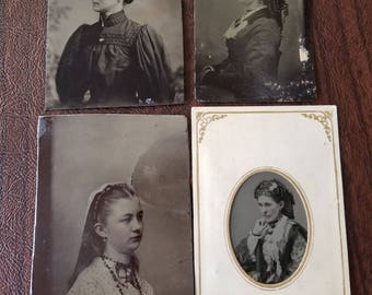 I'm  Not Looking:  Lot of 4 Antique Tintype Photographs of Women Not Facing the Camera