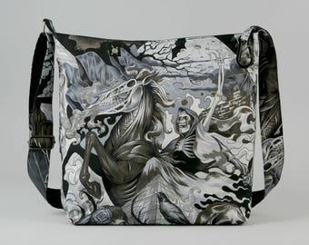 Grim Reaper vs Gothic Sorceress Large Crossbody Bag, with Bats, Fabric Bag, Canvas Liner, Work School Book Bag, Black Gray White