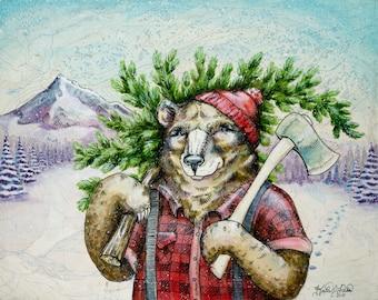"Lumberbear in Snow art, 8"" x 10"" Archival print, Lumberjack illustration, bear print animal print, wall art, grizzly bear illustration"