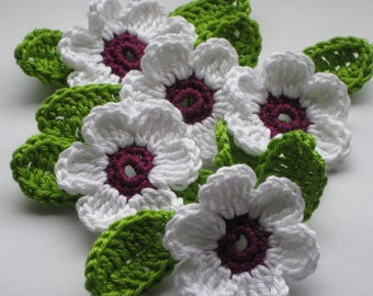 5 colorful crochet flowers with leaves