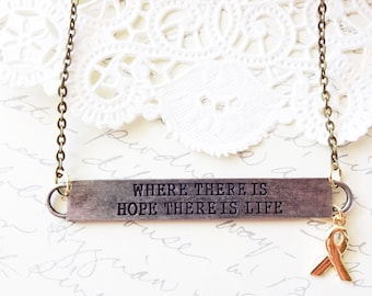 Where There Is Hope There Is Life Bar Charm Necklace - Cancer Ribbon Necklace - Hope - Cancer Awareness - Breast Cancer - Truism Tag