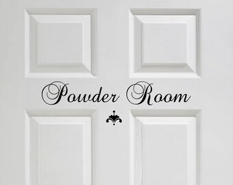 Powder Room Vinyl Wall Decal Vinyl Wall/Door Decal Powder Room Bathroom