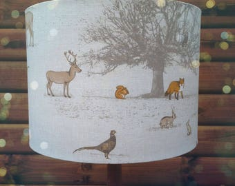 Drum lampshade-British Woodland -Fabric Covered Lamp shade. 19cm up to 40cm