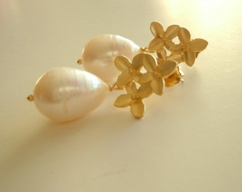 Pearl Blossoms...Large Freshwater Pearl and Cherry Blossom Earrings...FREE SHIPPING