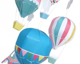 Paris Hot Air Balloon Mobile Printable Paper Craft PDF