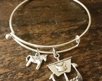 Swedish Dala Horse and Viking Ship Bangle Bracelet