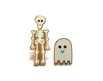 Skeleton and Ghost Pin Badges, Ghost Pin, Skeleton Pin, Ghost Brooch, Skeleton Brooch, Ghost Gift, Enamel Pin Badges, Lapel Pins