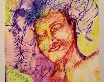 """New 5""""x7"""" LIGHT PARADE original kimartist big beautiful face guy handsome hair outsider pride pop star woman blue red pink yellow white sfa"""