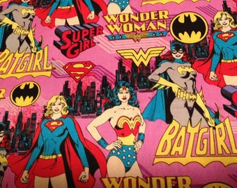 Girl Power Super Heros     Wonder Woman - Bat Girl -Super Girl    Camelot Cotton Fabric