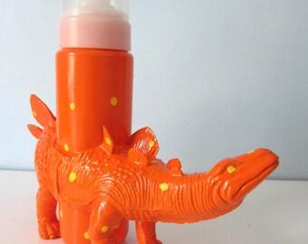 Upcycled Foaming Soap Dispenser - Orange Stegosaurus Dino with Yellow Polka Dots