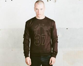 Mens 60s Sweatshirt . Men's Vintage Graphic Print Sports Sweater Normcore Mens Brown Top Printed Sweatshirt Activewear  . size Medium M