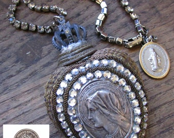 SOLD  Sacred Heart necklace crown one of a kind rhinestone religious Madonna metallic trim ex voto jewelry assemblage by Madonna Enchanted