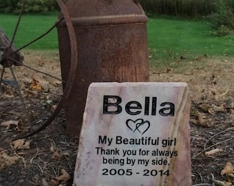 Large personalized Pet memorial rainbow stone, Natural Stone Headstone