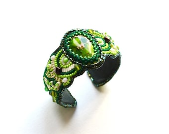 Green Bead Embroidered cuff Beaded Cuff Bead Embroidery bracelet Fairy green Bracelet Embroidered Jewelry for women St patricks day jewelry