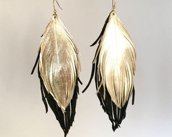 Leather feather earrings black and gold double leather feather earrings featherlight leather earrings Italian lambskin leather feathers