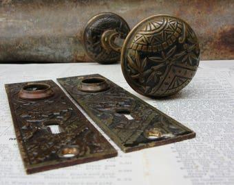 Matched Set of Antique Door Knobs & Back Plates Vintage Brass Victorian Metal Ornate Old Architectual Furniture Pulls Coat Rack Crafts Art A