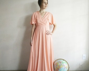 50% OFF Vintage 1970s Peach Gown/70s Dress/Small Medium