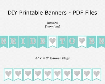 Bride To Be Banner with Hearts - Robin Egg Blue & Silver Sparkle - PRINTABLE - INSTANT DOWNLOAD