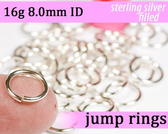 16g 8.0mm ID silver filled jump rings -- 16g8.00 jumprings links silverfilled silverfill