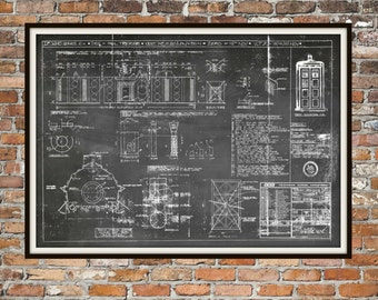 Tardis print poster dr who blueprint the tardis blueprint tardis print poster interior dr who blueprint the tardis blueprint interior art of the tardis malvernweather Choice Image