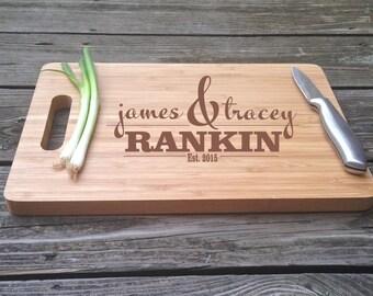 Engraved Cutting Board Monogrammed Chopping Block Engraved BAMBOO Cutting Board 13 X 9.75 X .5 Wedding Gift House Warming Gift Monogram