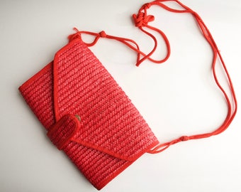Red Vintage Woven Straw Envelope Clutch Purse