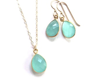 Aqua Chalcedony Necklace Set, Aqua Chalcedony Faceted Pendant, Gold Filled Chain, Bridesmaids Jewlery