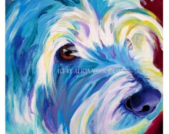 Westie, Westie Art, Pet Portrait, DawgArt, Dog Art, Pet Portrait Artist, Colorful Pet Portrait, Art Prints, Westie, Colorful Westie