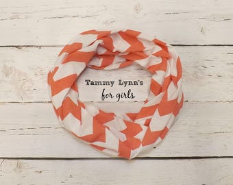 Girls Coral and White Chevron Infinity Scarf Jersey Knit Girls Accessories