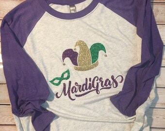 Mardi Gras Jester Hat Party Beads Baseball Tee Shirt Glitter Bling