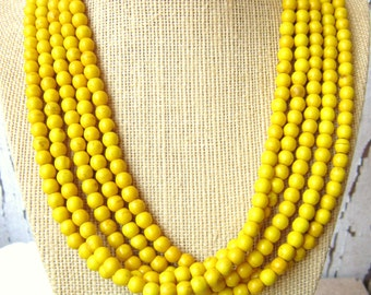 Yellow Turquoise Statement Necklace. Multi Strand Yellow Turquoise Necklace. Yellow Beadwork Necklace. Yellow Jewelry. Bridesmaid Jewelry