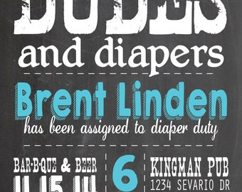PRINTABLE Dudes and Diapers Shower Invitation