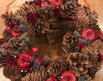 """Christmas wreath garland berry and red apple, Approx size 12"""" (30cm)"""
