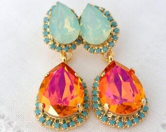 Pink orange Mint opal and turquoise halo Crystal Chandelier earrings, Drop earrings, Dangle earring, Bridal earrings, bridesmaids gift