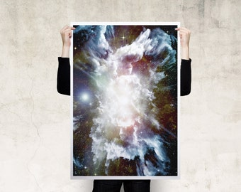 Cosmic Explosion Print Poster, Large Print, Canvas Print, Wall Art, Poster, Home Decor, Print Poster, Gift, Digital Art Print
