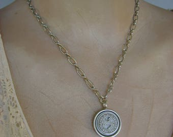 Desire - Vintage New Orleans Louisiana NOLA Streetcar Token Mother of Pearl Button Bezel Recycled Repurposed Necklace