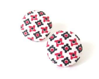 Funky fabric earrings - geometric earrings - large retro studs - statement earrings - vintage pattern studs - stud earring - white red black