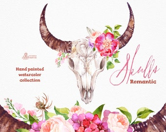 Romantic Skulls. Watercolor skulls with horns and flowers, bull, cow skull, hand painted, peonies, floral, quotes, tribal, boho, headbull