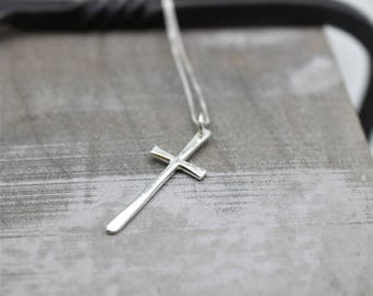 Simple Sterling Silver Cross Necklace - Cross Necklace, Religious Jewelry