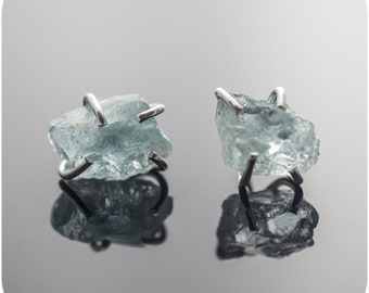 Raw Aquamarine or Tsavorite Earrings in Sterling Silver - Raw Gemstones in claw - Hard Candy Studs