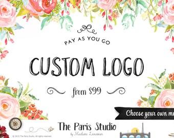 Floral Logo aquarelle conception Boho Logo Logo personnalisé Design Logo Boutique Etsy Logo entreprise de photographie site Web Logo Blog Boutique Logo de marque