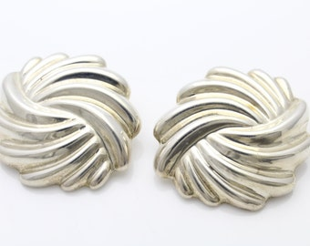 GorgeousVintage Jumbo Bold Sterling Silver Taxco Slip Earrings Signed. [618]