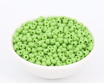 30g 6/0 Vintage Seed Bead Lime Green, Czech Glass Bead, Spacer, Rocaille, Diy Jewelry, Wholesale, 4695F