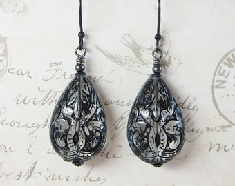 Black Crystal Earrings Black Lace Carved Teardrop Bridal Wedding