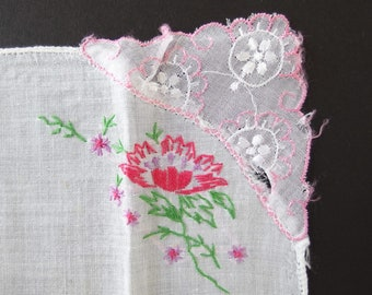 Sheer Corner with Pink Accent White Handkerchief, Vintage Hankie with Hot Pink Embroidered Flower